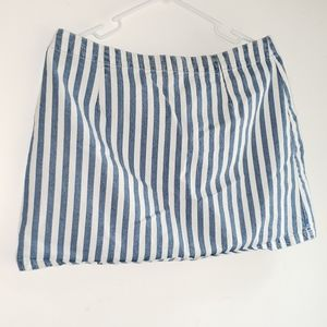 White & Chambray Stripe- •F21•   A-Line Mini Skirt
